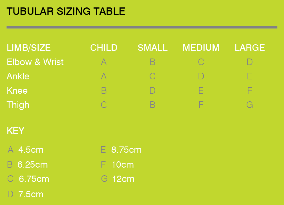Tubular Sizing Table