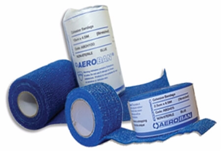 Image displaying AeroBan Cohesive & EAB high quality bandages both rolled up and unrolled.