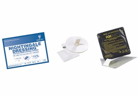 Image displaying a range of loose and packaged Chest Seals for wound recovery.