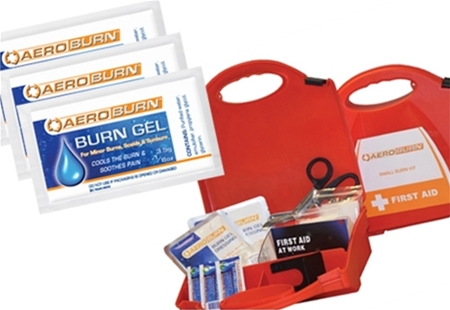 Image displaying a variety of AeroBurn Gel packets and Burns Kit Cases.