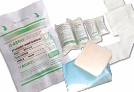 Image displaying a range of AeroWound HSE Dressings & Procedure Packs for wound and trauma treatment.