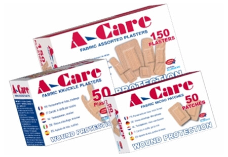 Image displaying three different sized boxes of A-Care Fabric Adhesive Plasters.