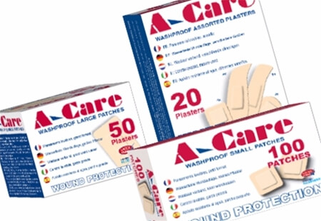Image displaying three different sized boxes of A-Care Washproof Adhesive Plasters.
