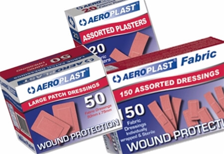 Image displaying three different sized boxes of A-Care Fabric - Vend Adhesive Plasters.