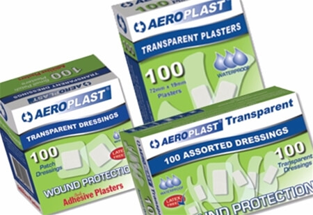 Image displaying three different sized boxes of AeroPlast Transparent Adhesive Plasters.