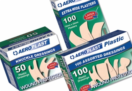 Image displaying three different sized boxes of AeroPlast Washproof - Vend Adhesive Plasters.