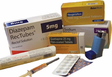 Image displaying a range of Medicines including Tablets, Injections and an Inhaler.