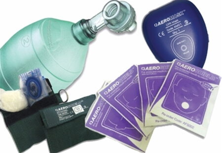 Image displaying a range of CPR Face Shields and Resuscitators.