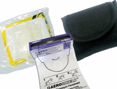 Image displaying multiple personal protection pouches and a CPR Mannequin Face Shield.