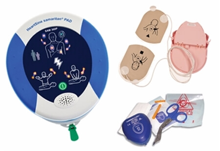 Image displaying a Heartsine Samaritan 360P Fully Automatic Defibrillator set.