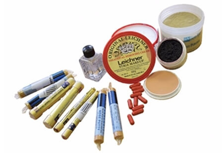 Image displaying a range of Casualty Stimulation Products including powder and fake blood.