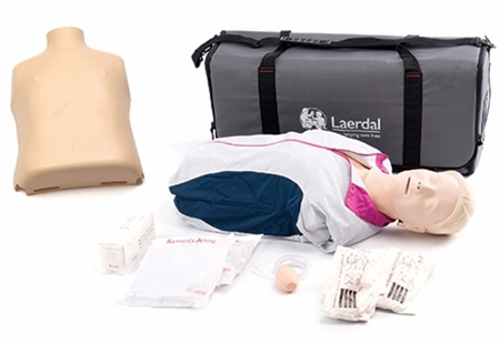 View of a Laerdal Manikin Set showing the manikin dressed and undressed, a carry bag and accessories.