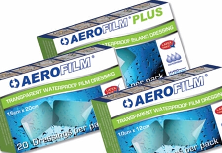 Image displaying three different sized boxes of AeroFilm Adhesive Dressings for Wound Protection.