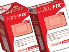 Image displaying two different sized boxes of Adhesive AeroFix Plasters for Wound Protection.