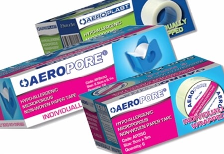 Image displaying three different sized boxes of AeroPore Paper & Plastic Medical Tapes.