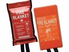 Image displaying two fire blankets, one red and one orange.