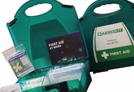 Image displaying two Premium First Aid Kit boxes, one open and one closed.