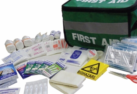 Image displaying a Sports First Aid Kit bag with all of it's contents laid out in front of it.