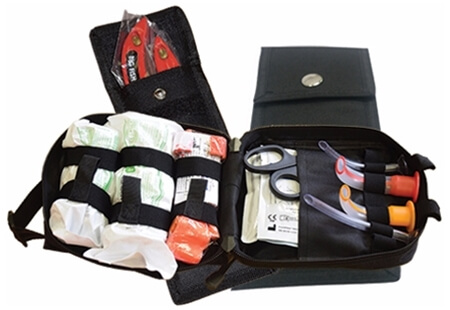 View of multiple tactical first aid bags and pouches.