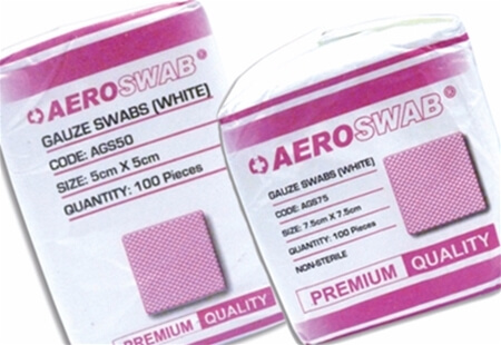 View of two different sized packets of AeroSwab Gauze Swabs.