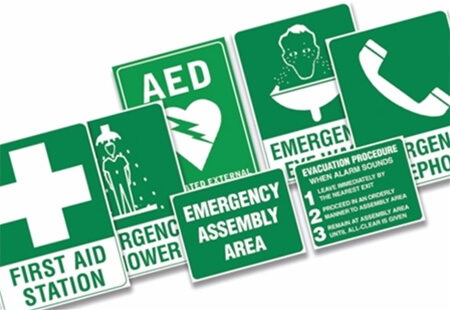 Image displaying a range of Green Self Adhesive Wall Signs.