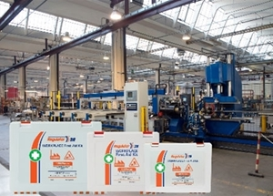 A first aid product production line in a large warehouse