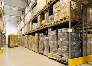 A large warehouse full of products