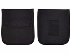 Image showing the front and back of an empty First Aid Pouch that is designed to hold Field Dressings.