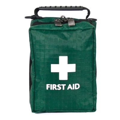 Image of a Empty Motorcycle First Aid Bag with a belt loop and carry handle.