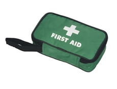 Image of a small empty first aid zipper pouch with a handle.