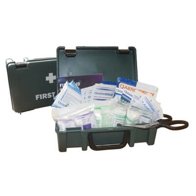 Image displaying an open large first aid kit box showing the range of materials included.