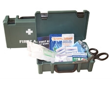Image displaying an open small first aid kit box showing the range of materials included.