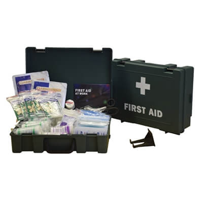 Image displaying one closed first aid kit and an open first aid kit to show the amount of contents included.