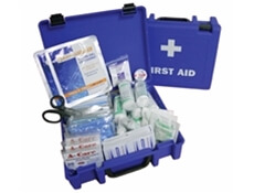 Image displaying an open and a closed large catering first aid kit.