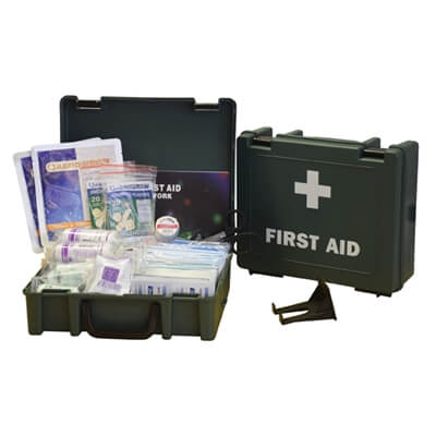 Image displaying an open and a closed medium first aid kit to show the range of contents included.