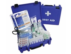 Image displaying an open and a closed medium catering first aid kit to show the range of contents included.