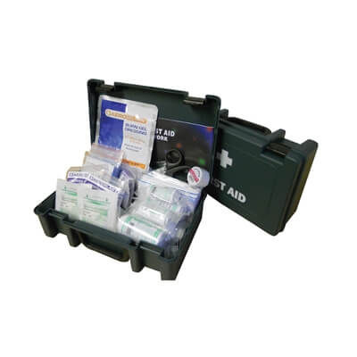 View of a closed and an open small first aid kit box to show the size of the kit and the contents included.