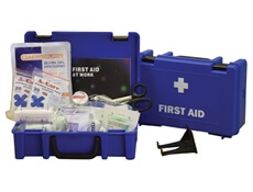 Image displaying one closed and one open small catering first aid kit box to demonstrate its size.