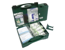View of an open 10 Person HSE First Aid Kit to show the range of Bandages & Plasters included.