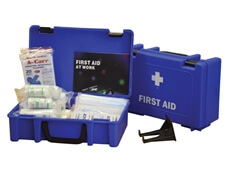 View of an open and closed 10 person HSE catering first aid kit box to show its size and contents.