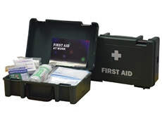 Image displaying one open and one closed 1 Person HSE First Aid Kit Case to show size and contents.