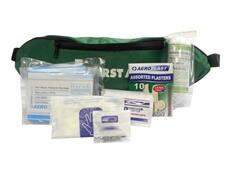 View of a 1 Person First Aid Kit In a Bum Bag and all of the products that are included within it.