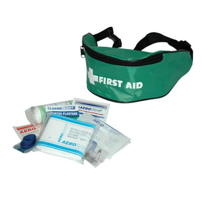View of a 1 person first aid kit with face shield showing the contents provided within.