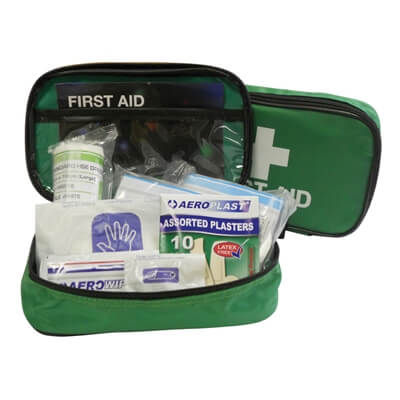 Image displaying an open 1 Person First Aid Kit In a Zipper Pouch showing all of the treatments included.