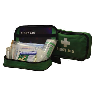 View of a 1 Person First Aid Kit In a Zipper Pouch with Eyewash showing the product and the treatments included.