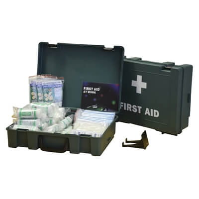 Image displaying a 50 Person HSE First Aid Kit showing its size and the treatments included.