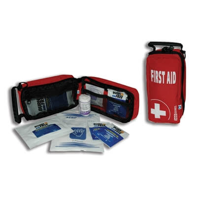 Image displaying the Rapid Response Burns First Aid Kit closed and open to show its size and contents.