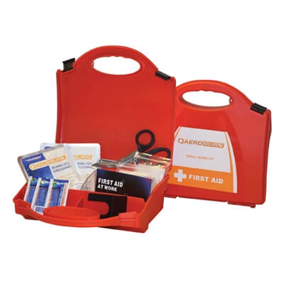 Image showing two small premium burns first aid kits, one closed to show the size of the case and one open to show the kit's contents.