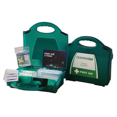 Image showing two premium 10 person HSE First Aid Kits, one closed to show the size of the case and one open to show the kit's contents.