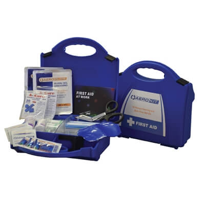 Image showing two premium 10 person catering & burns first aid kits, one closed to show the size of the case and one open to show the kit's contents.